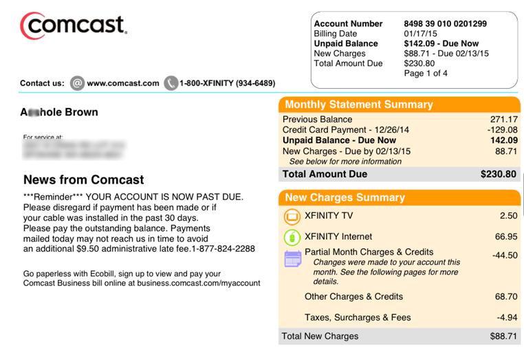 Comcast Customer Service Strikes Again