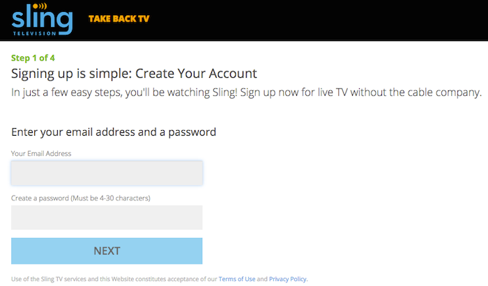 Sign up for Sling TV