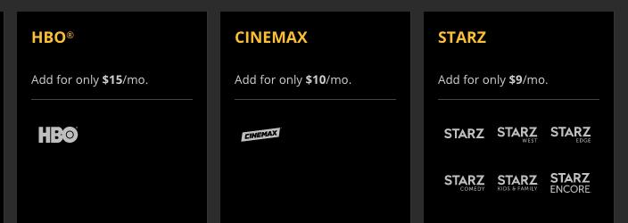 Sling TV HBO Cinemax STARZ Premium Channels